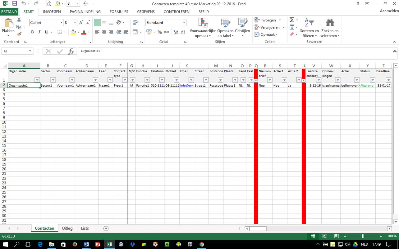 Spreadsheet voor eenvoudig relatiemanagement