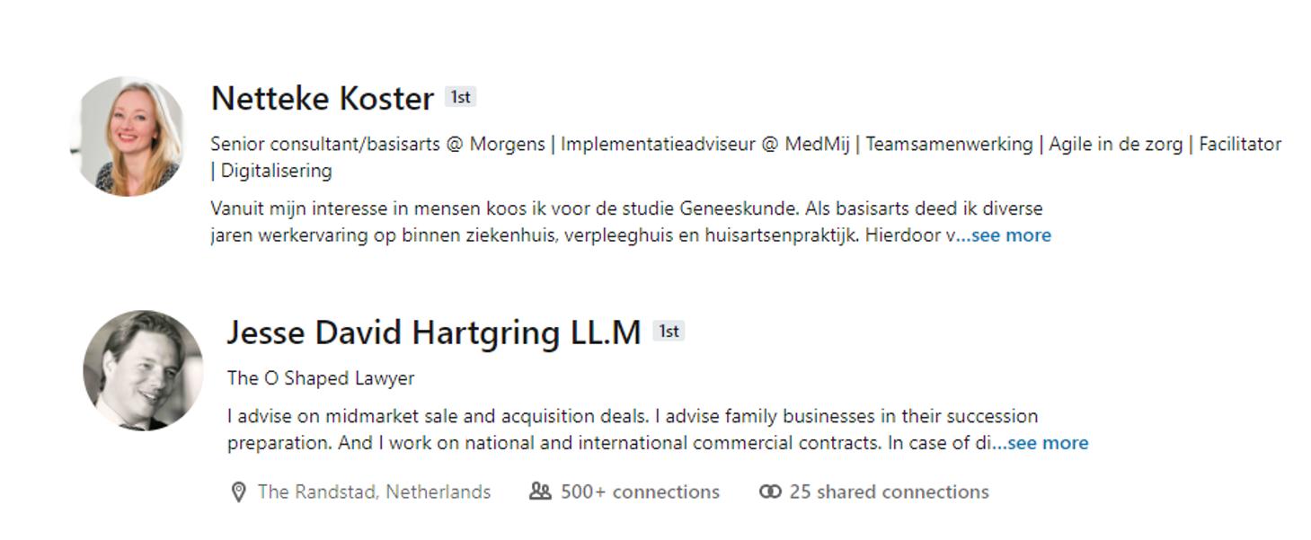 Voorbeelden LinkedIn-profielen consultants en advocaten